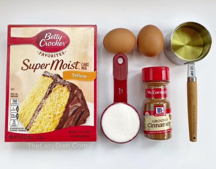 Quick & Easy Cake Mix Cookies - Snickerdoodles!  Hergestellt aus nur wenigen Zutaten, einschließlich der gelben Kuchenmischung von Betty Crocker.  So einfach und lecker!