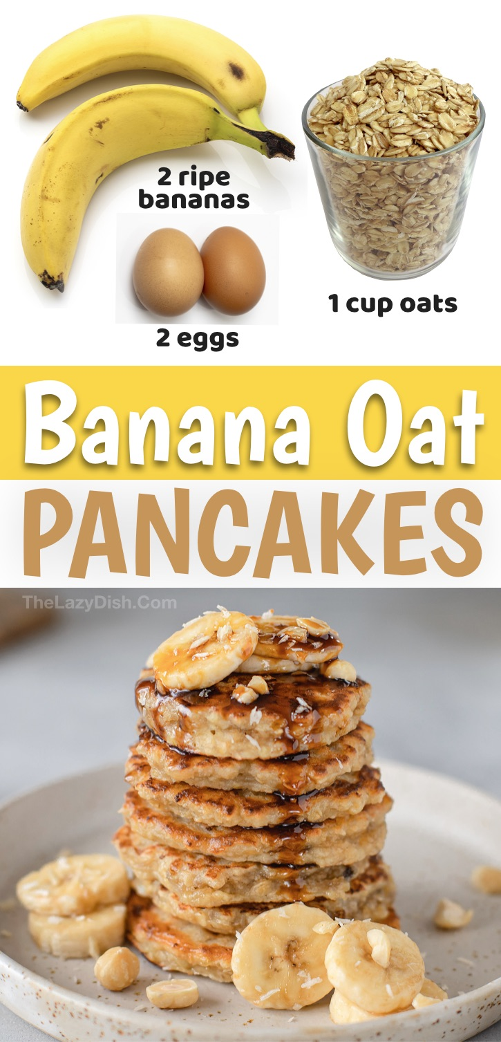This quick and easy breakfast recipe is not only healthy, it's really yummy! If you're on the hunt for simple clean eating breakfast recipes, you and your kids are going to love this 3 ingredient banana oat pancakes recipe. They're made with just a few ingredients plus the optional vanilla, cinnamon and mix-ins of your choice. They're vegetarian, flourless, sugar-free, low calorie and super easy to make. What more could you ask for, especially on busy mornings? Your family is going to love them!