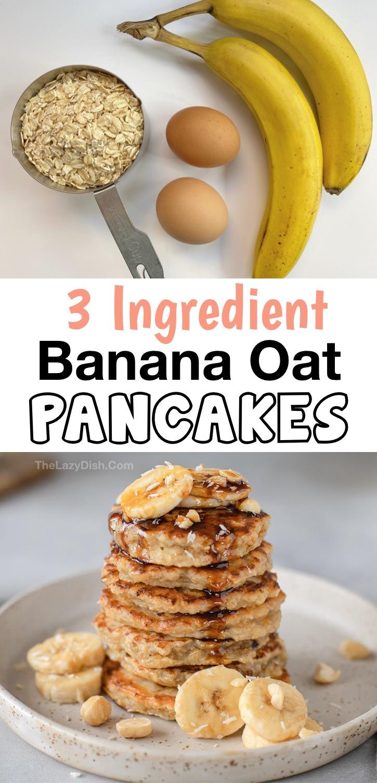 Vous recherchez des idées de petit-déjeuner propres?  Ces crêpes saines à la banane et à l'avoine à 3 ingrédients sont absolument délicieuses!  Si simple à faire avec juste des bananes, des œufs et de l'avoine.  Même vos enfants et les mangeurs difficiles adoreront cette recette de petit-déjeuner facile.  Les bananes les rendent sucrées et les œufs les rendent moelleux.  Beaucoup de protéines!  Idéal pour les matins occupés.  Vous pouvez également préparer vos repas et les congeler lorsque vous êtes en déplacement.  Végétarien, sans gluten, sans sucre et sans farine.  #cleaneating #healthy # 3 ingrédients