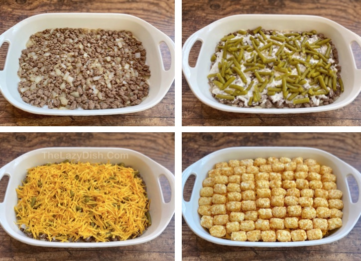 How to make a tater tot casserole with ground beef, cream of mushroom soup and green beans. Easy family dinner recipe!
