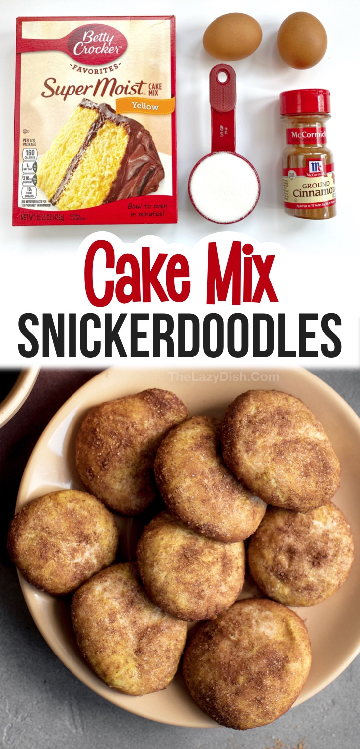 Seriously, the best cookies! These soft cake mix snickerdoodle cookies are so quick and easy to make thanks to a box of Betty Crocker yellow cake mix. They are made with just a few ingredients that you probably already have in your pantry. These holiday treats are perfect for fall, Thanksgiving, Christmas and more! So cheap and simple to make. Cake mix cookies are my favorite dessert recipes-- so many fun and creative ways to make them. Easy Cinnamon Sugar Cake Mix Cookies Recipe #cookies