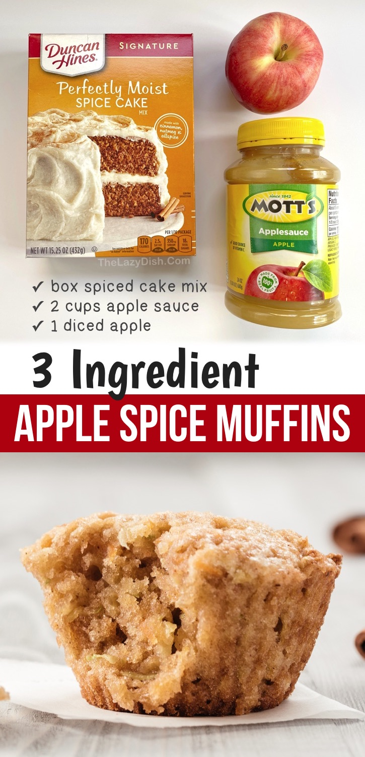 Looking for easy snacks to make at home? These fall inspired cake mix muffins are made with just 3 simple ingredients: boxed spice cake mix, apple sauce and a diced apple! So moist and delicious, too. These quick and easy apple muffins are perfect for snacks, breakfast and treats. Kids and adults love this yummy muffin recipe! I just love cake mixes-- they make baking easy and fun. These muffins are perfect for on the go, too. Bring them to work or school! #fall #muffins #snacks #thelazydish