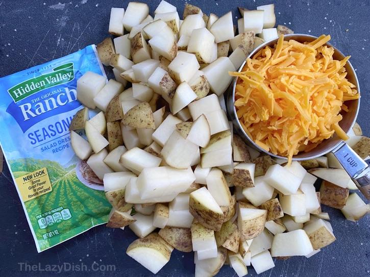 Easy Potato Side Dish Recipe -- Cheesy Ranch Roasted Potatoes