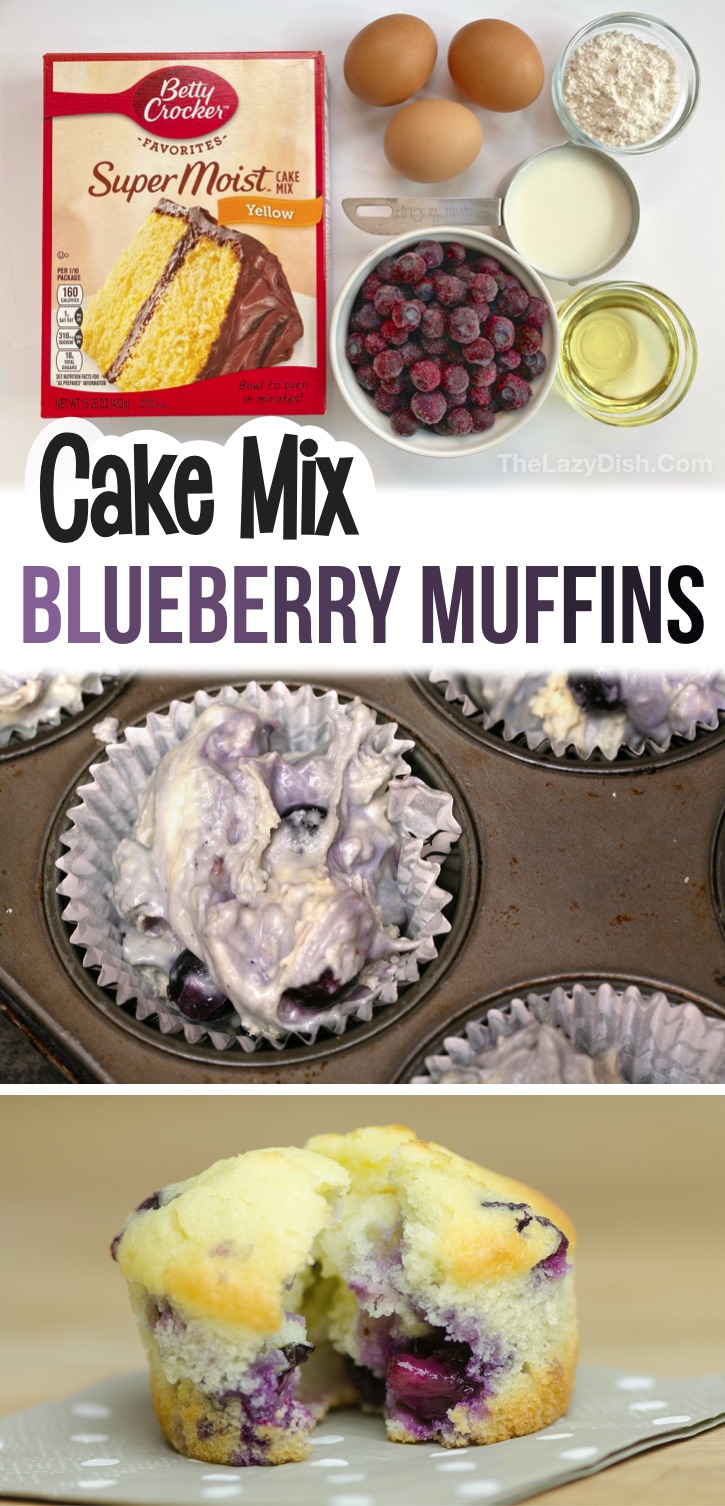 Looking for easy on the go breakfast ideas? These simple blueberry muffins are made with just a few cheap ingredients including boxed yellow or white cake mix! Kids and adults love this on the go treat for breakfast and after school snacks. They are also perfect for work, busy mornings and sports practice. Quick and easy to make with fresh or frozen blueberries! #muffins #cakemix #thelazydish