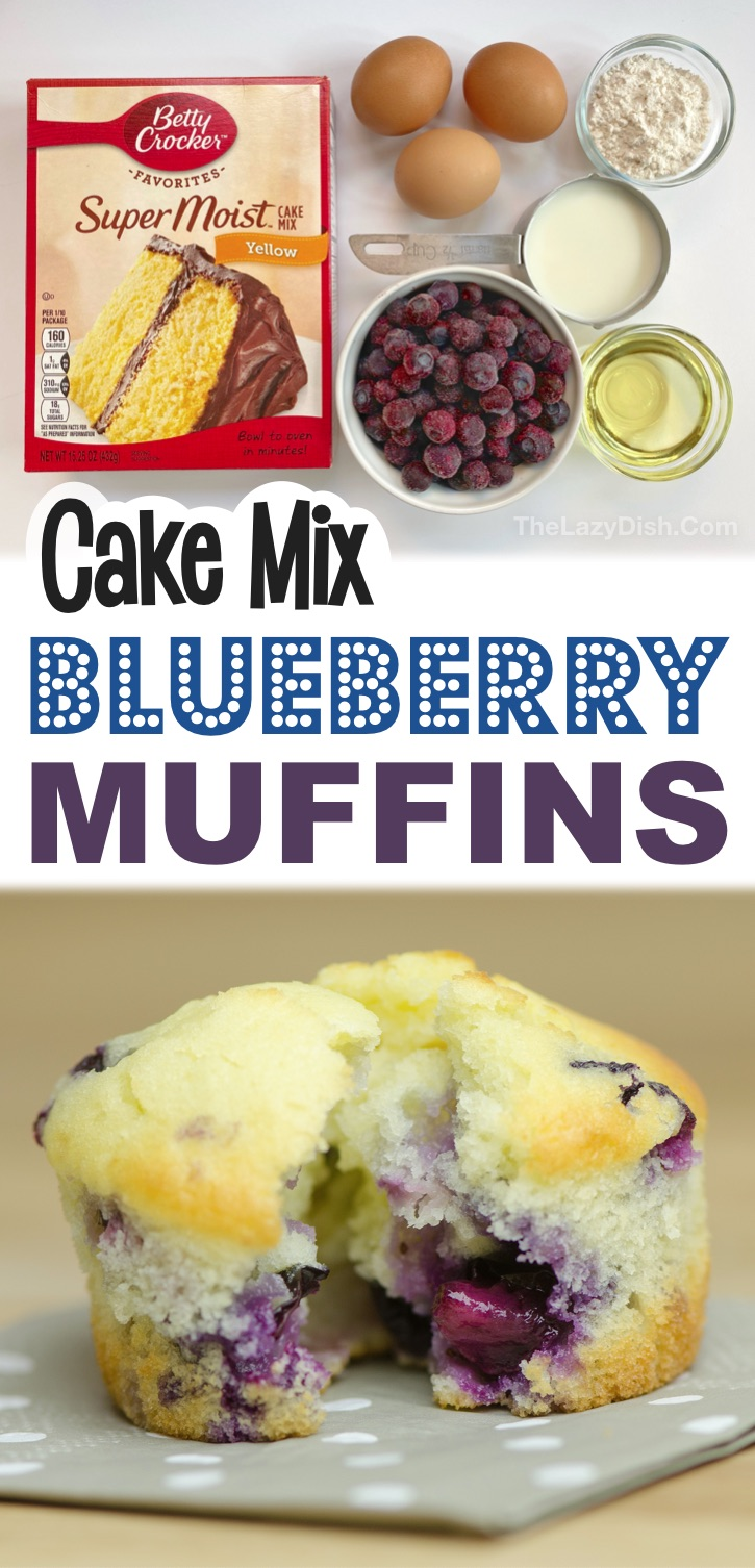 Looking for quick and easy snack and breakfast ideas? These simple blueberry muffins are made with just a few ingredients including boxed yellow cake mix! Kids and adults love this on the go treat. They are perfect for work, after school, busy mornings and sports practice. Made with fresh or frozen blueberries! #muffins #cakemix #thelazydish
