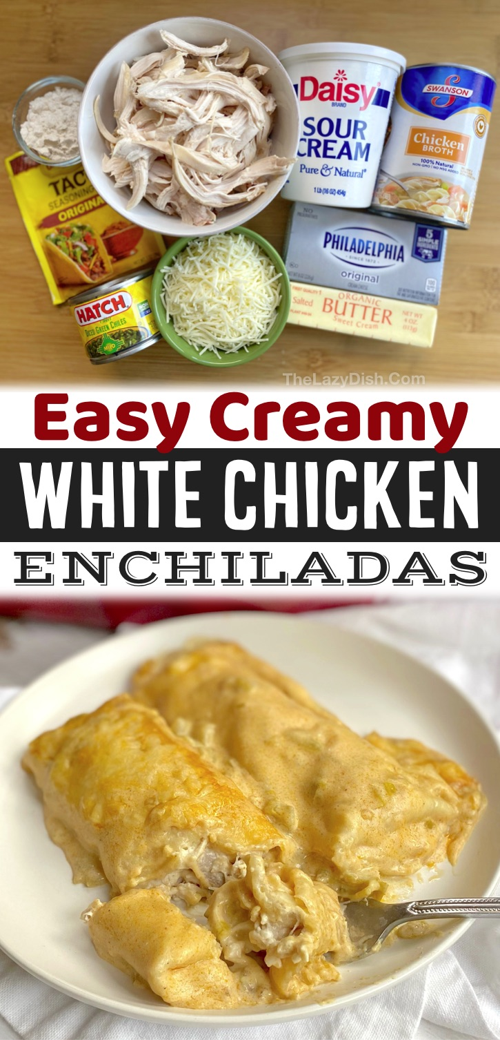 Easy White Chicken Enchiladas Recipe -- My favorite quick and easy dinner recipe for busy weeknight meals! My family loves these enchiladas, including my picky kids and hungry husband. Such a simple dinner recipe made with rotisserie chicken and other cheap ingredients.