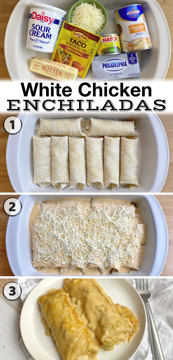 Easy Cream Cheese Chicken Enchiladas -- The best quick and easy family dinner idea! My picky kids and husband love these enchiladas. If you're looking for family dinner recipes on a budget, this simple weeknight meal is all you need. A great last minute dinner for hectic weeknights.