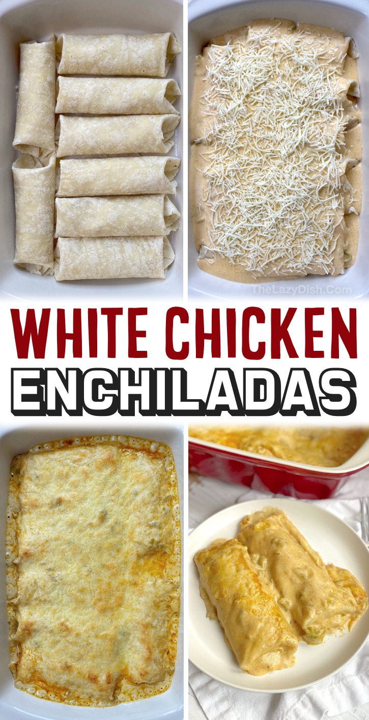 Easy Family Dinner Ideas For Your Picky Eaters | These cheesy oven baked white chicken enchiladas are so quick and easy to make for busy weeknight meals! My kids and my husband both beg me to make this recipe all of the time. It's really simple to make thanks to rotisserie chicken and a few other staple ingredients. Some serious comfort food! This budget friendly recipe is a regular at my house, add it to your dinner rotation. Your kids will thank you. Serve alone or with rice and beans. So yummy!