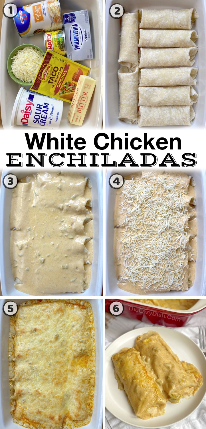 Looking for easy last minute dinner ideas for your family? Even my picky kids love these creamy white chicken enchiladas. They are a great way to use up a rotisserie chicken, and so simple to make with just a few cheap ingredients. They are extra creamy thanks to the cream cheese and sour cream. So yummy!