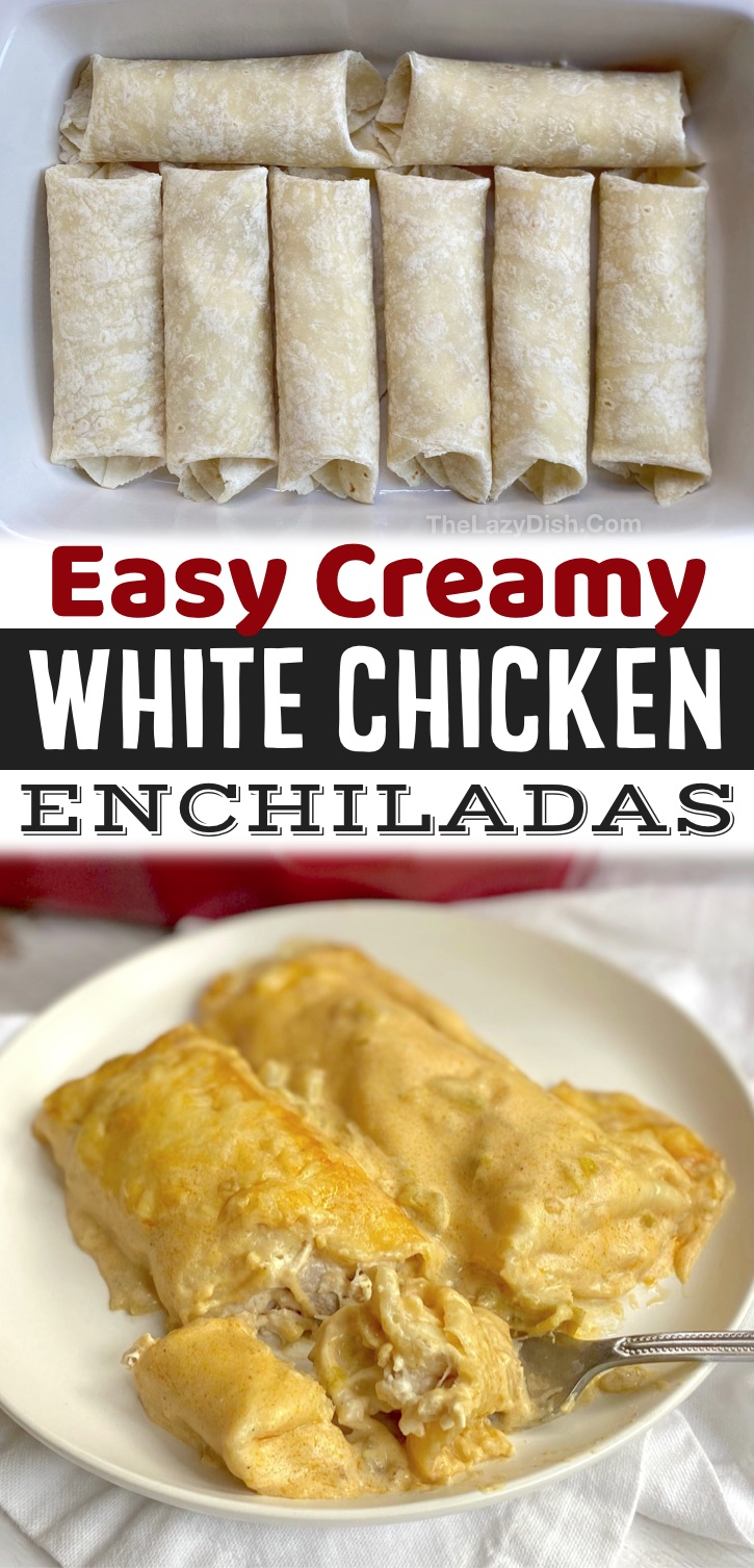 The Best Baked Creamy Chicken Enchiladas -- Made with rotisserie chicken, cream cheese, sour cream and flour tortillas! If you're looking for quick and easy dinner recipes for a family with kids, this simple weeknight meal is all you need. It's cheap, simple and delicious! Even my picky eaters love it.