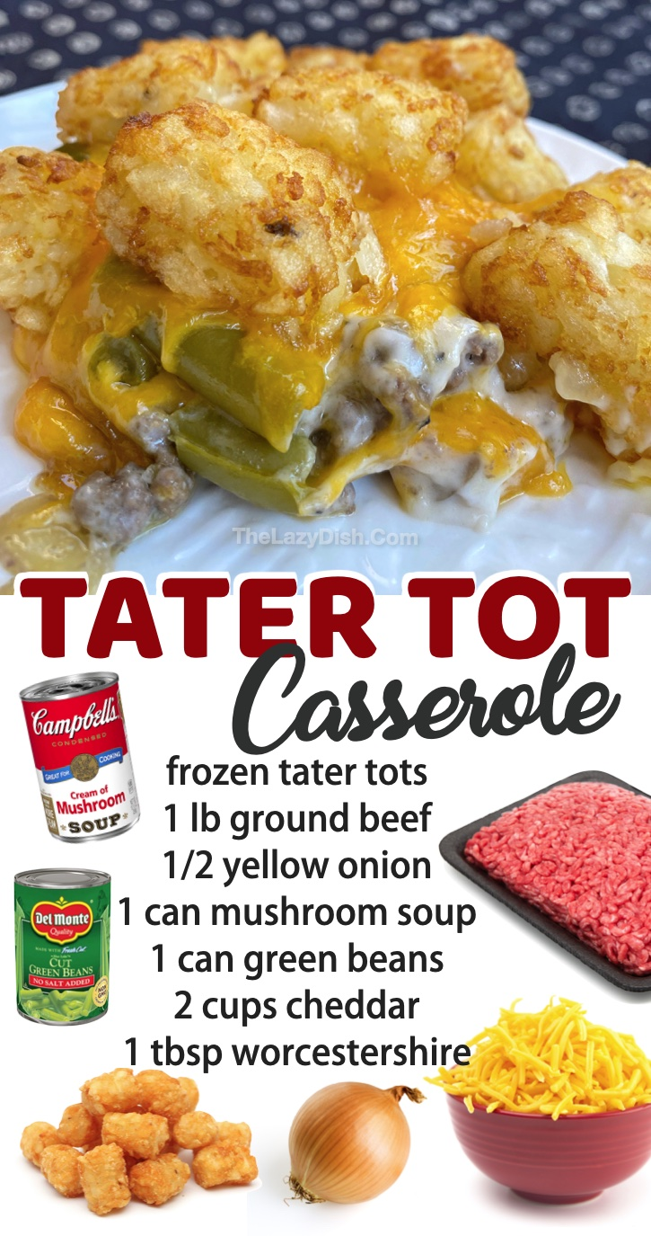 Super quick and easy family dinner recipes to try! This cheesy ground beef tater tot casserole is perfect for busy weeknight meals. My picky kids love it! Plus it's cheap and simple to make in your oven. Great leftover, too!