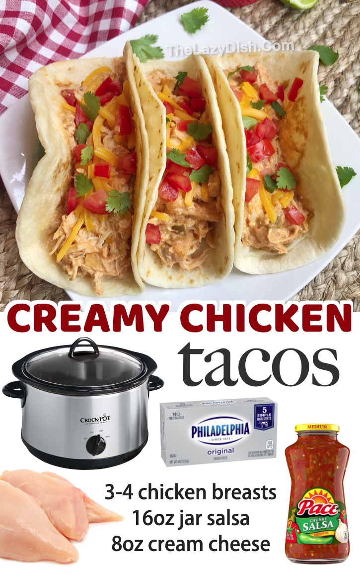 3 Ingredient Creamy Chicken Tacos (Easy Slow Cooker Recipe) My family loves this easy way to make chicken in a crockpot! One of my picky eaters favorite meals. So cheap and easy to make with just a few ingredients including cream cheese and salsa. A great list of family friendly dinner recipes!