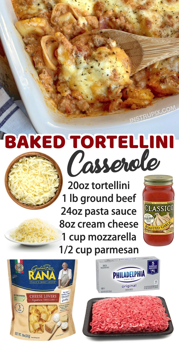 Cheesy Baked Tortellini Casserole With Meat Sauce | A family favorite dinner recipe! You can't go wrong with baked pasta mixed with ground beef, sauce and cheese. My picky eaters love this Italian inspired meal! You will also find a long list of other quick and easy dinner recipes for a family with kids here.