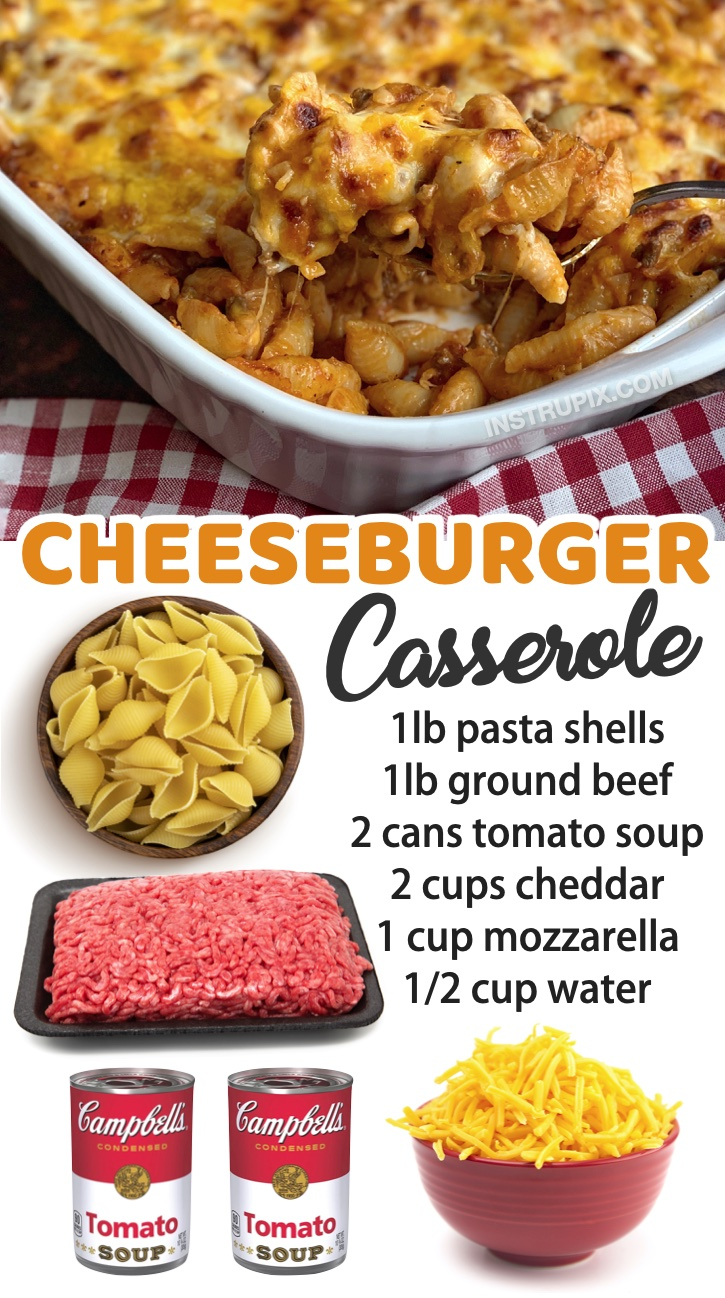 Cheeseburger Casserole -- The best ground beef dinner recipe for your picky eaters! If you are trying to feed a family with kids, you've got to check out this large list of family friendly meals to make. Everything from beef and chicken to pasta comfort foods.