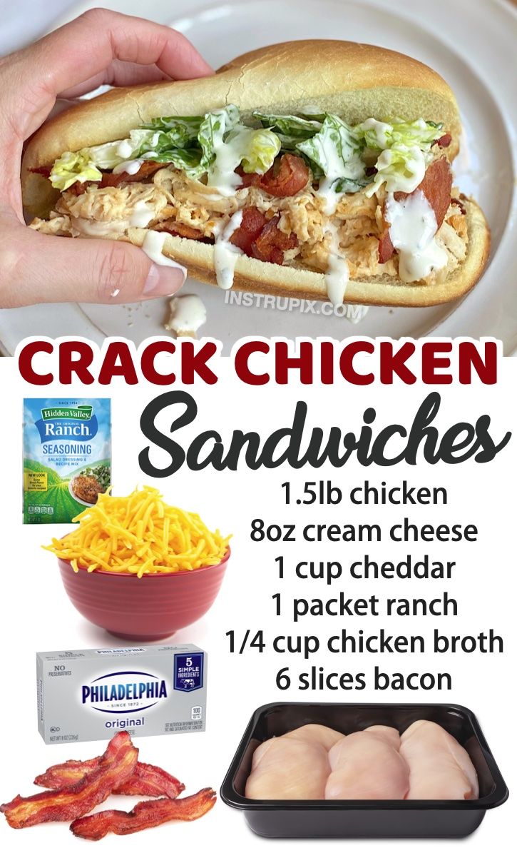 Slow Cooker Shredded Chicken Sandwiches (With Bacon) | A long list of quick and easy family dinner recipes! My kids love all of these meals, plus they are cheap to throw together on busy weeknights. This chicken recipe is addicting! My kids request it all the time.