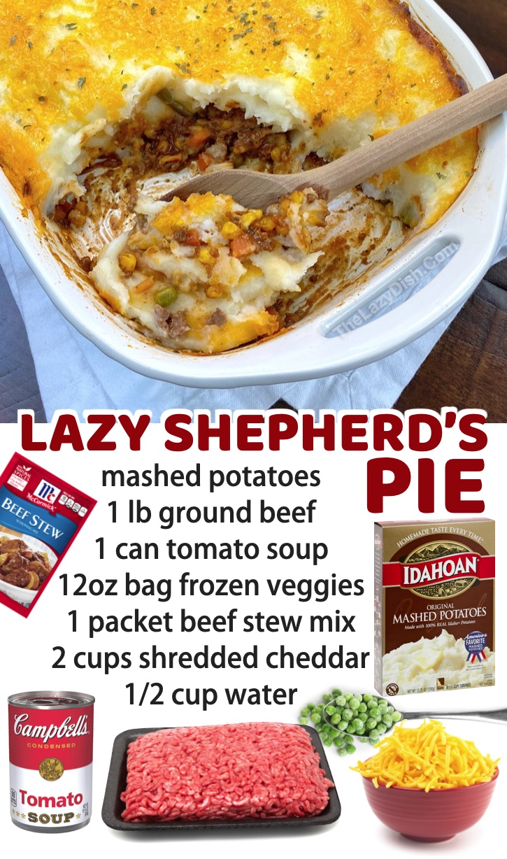 Lazy Shepherd's Pie (Made With Ground Beef) | If you're on the hunt for quick and easy dinner recipes for your family, even your picky kids are going to love this casserole! It's loaded with everything you need including protein, veggies and carbs. You will also find a long list of other meals here for busy moms and dads. This one feeds a large family!