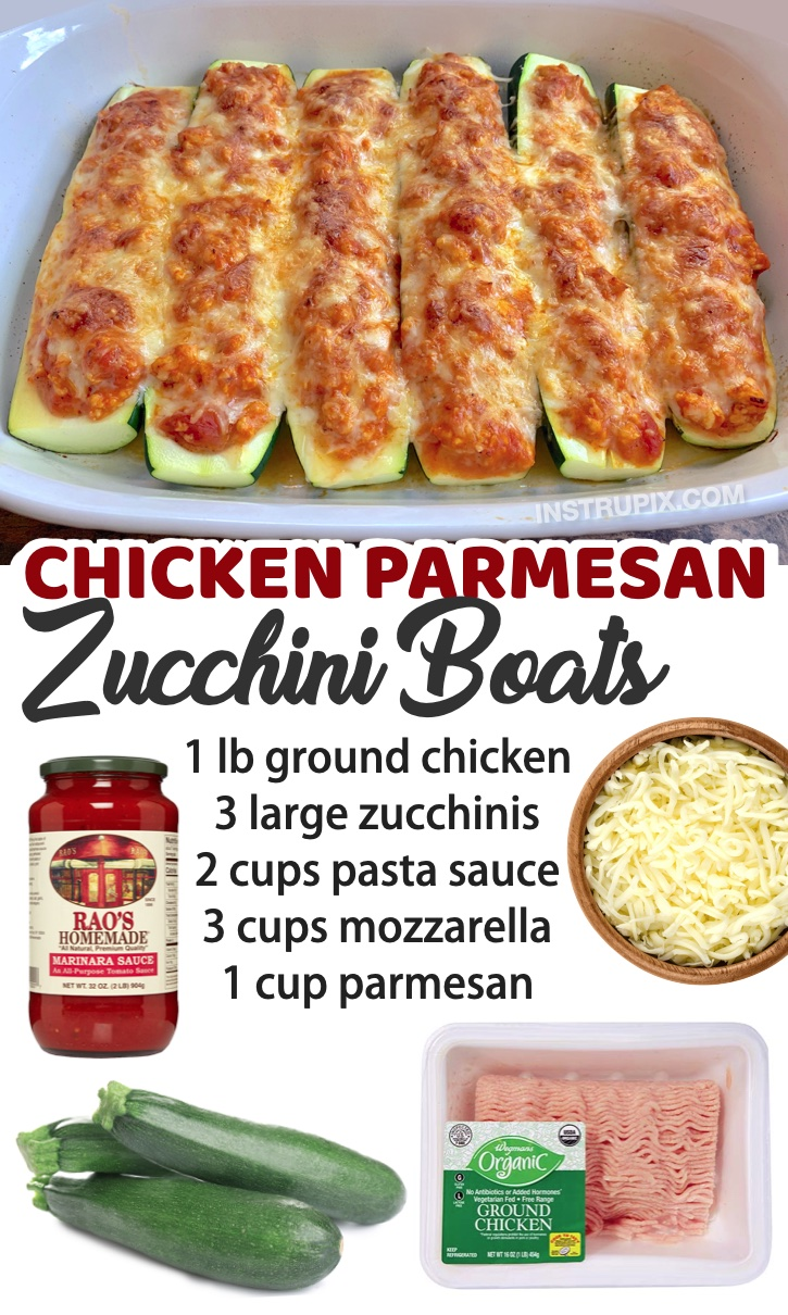 Chicken Parmesan Zucchini Boats | Looking for low carb dinner recipes that your entire family will enjoy? Everyone will love this easy ground chicken recipe, along with a list of other simple weeknight meals to try. Feeding family with kids isn't easy, especially when you're trying to be healthy, but this dish tastes like comfort food!