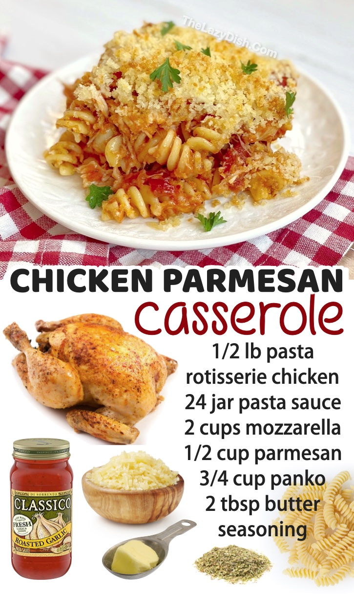 Looking for dinner recipes for a family with kids? You're going to love this chicken parmesan casserole, as well as this long list of other simple meals for your picky eaters! Rotisserie chicken makes everything delicious, not to mention incredibly easy to make.