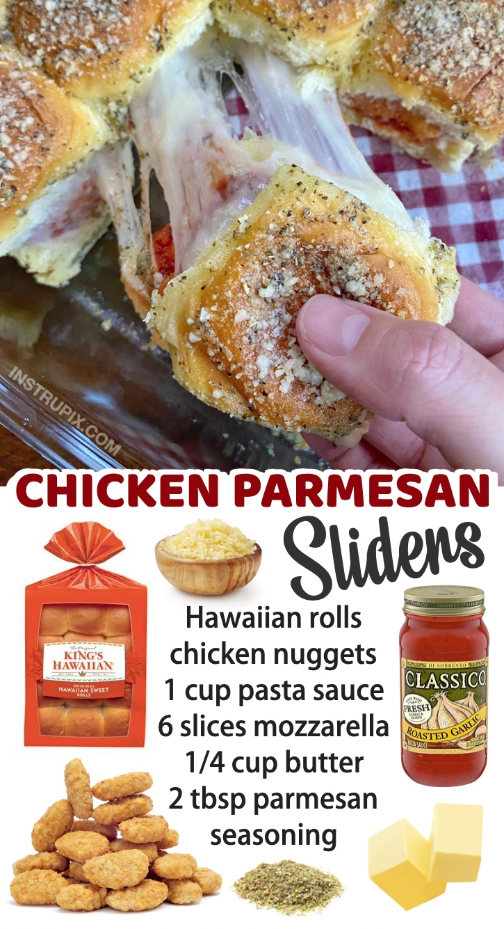 Chicken Parmesan Sliders - The best meal for your picky eaters! My kids love these mini sandwiches, and they are super quick and easy to make with just a few cheap ingredients. If you have a family with kids to feed, you've got to check out this list of simple dinner recipes made with just a few ingredients.