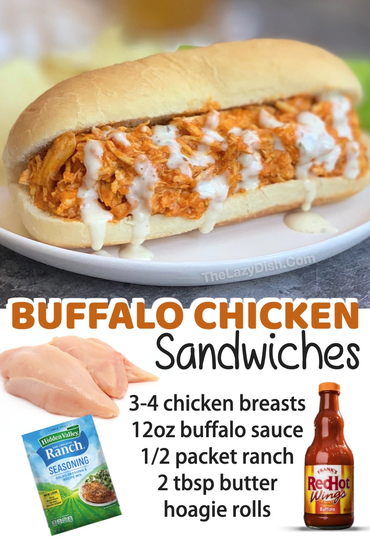 Slow Cooker Buffalo Chicken Sandwiches | A super easy crockpot meal! Great for lunches and dinners, and they are effortless to make. My family loves them! Just a few simple ingredients and you've got some serious comfort food.