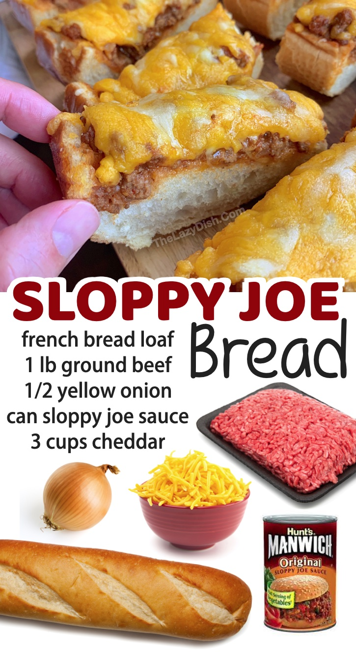 Sloppy Joe French Bread | A super easy ground beef dinner recipe for your family! Talk about comfort food. It doesn't get any easier than this. My husband and kids love this recipe. If you're looking for simple meals to make, you will find a long list of easy dinner ideas here.