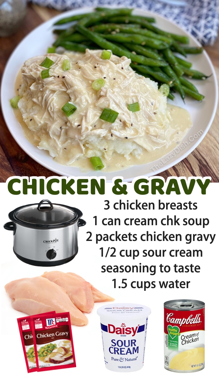 Crockpot Chicken & Gravy... plus a bunch of other easy family dinner recipes! If you have picky eaters at home, you're going to love these simple weeknight meals. Everything from cheesy casseroles to slow cooker sandwiches. My kids love all of these dinners! Great for busy moms and dads on a budget.
