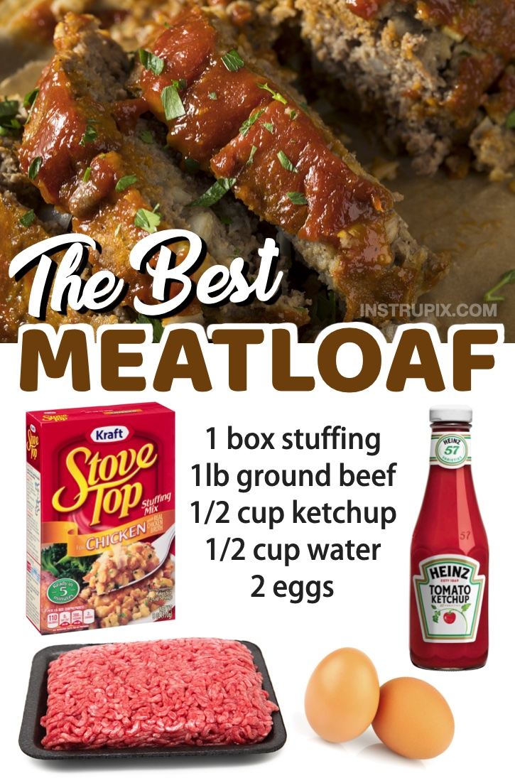 The Best Meatloaf (made with a box of stuffing!) Looking for easy ground beef recipes for dinner? Your family is going to love this list of easy weeknight meals. Everything from healthy recipes to comfort foods for your picky eaters.